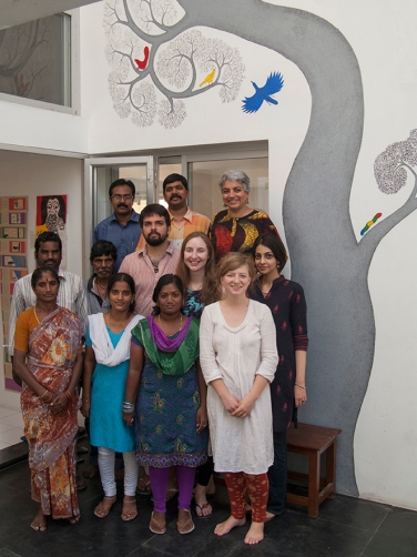 Back to front, left to right: Shamim, Arumugam, Gita Senthil, Jarvis, Arun, Maegan, Tanuja Naguma, Ramya, Nancy, Nia. [Not pictured: Editorial Director V.Geetha, US Representative Bhakti, Packing-in charge Ranjith and Sales Manager Manivannan.]