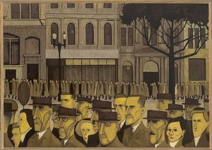 "Debra Dudek compares John Brack's ""Collins St, 5pm"" with this scene from Tan's picture book.  Source:http://www.smh.com.au/entertainment/art-and-design/bracks-painting-stands-out-from-the-crowd-20110418-1dlpa.html"