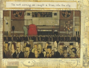 "Debra Dudek compares John Brack's ""Collins St, 5pm"" with this scene from Tan's picture book."