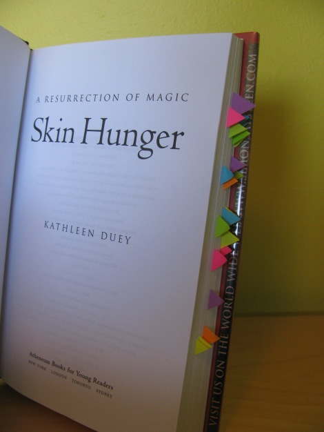 Skin Hunger by Kathleen Duey - sticky notes